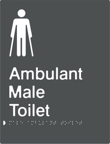 Male Ambulant Toilet Braille & tactile sign (PBAGy-MambT)