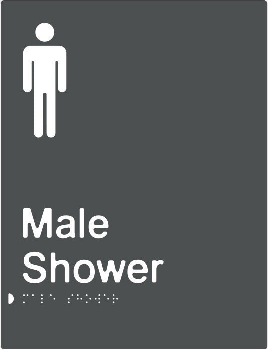 Male Shower Braille & tactile sign (PBAGy-MS)