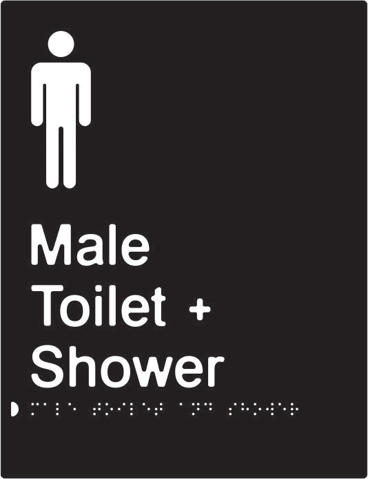 Male Toilet & Shower Braille & tactile sign (PBABk-MTAS)
