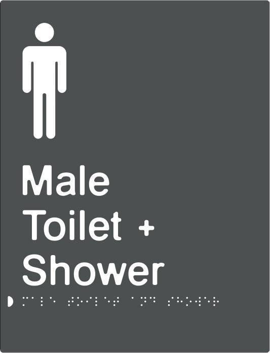 Male Toilet & Shower Braille & tactile sign (PBAGy-MTAS)