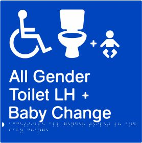 Accessible All Gender Toilet & Baby Change Left Hand Transfer (PB-AAGTABCLH)