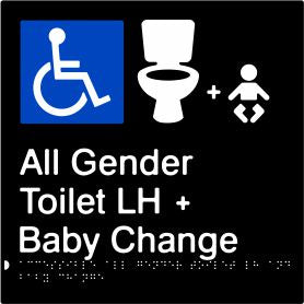 Accessible All Gender Toilet & Baby Change Left Hand Transfer (PBABk-AAGTABCLH)
