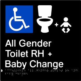Accessible All Gender Toilet & Baby Change Right Hand Transfer (PBABk-AAGTABCRH)