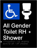 All Gender Accessible Toilet & Shower Right Hand Transfer (PBABk-AAGTASRH)