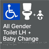 Accessible All Gender Toilet & Baby Change Left Hand Transfer (PBAGy-AAGTABCLH)