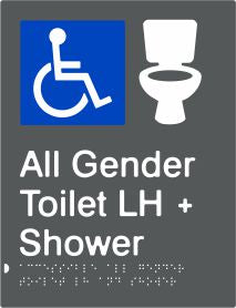 All Gender Accessible Toilet & Shower Left Hand Transfer (PBAGy-AAGTASLH)