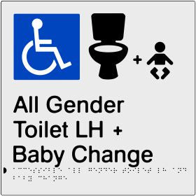 Accessible All Gender Toilet & Baby Change Left Hand Transfer (PB-SNAAAGTABCLH)