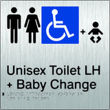 Unisex Accessible Toilet & Baby Change Left Hand Transfer Braille & tactile sign (PB-SSUATABCLH)