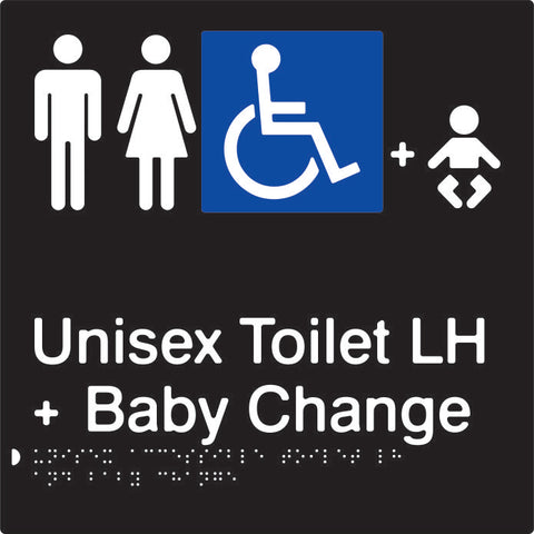 Unisex Accessible Toilet & Baby Change Left Hand transfer Braille & tactile sign (PBABk-UATABCLH)