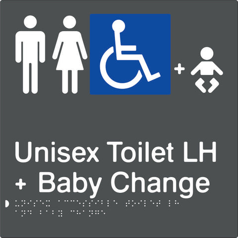 Unisex Accessible Toilet & Baby Change Left Hand transfer Braille & tactile sign (PBAGy-UATABCLH)