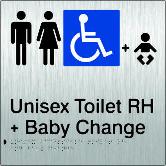 Unisex Accessible Toilet & Baby Change Right Hand Transfer Braille & tactile sign (PB-SSUATABCRH)
