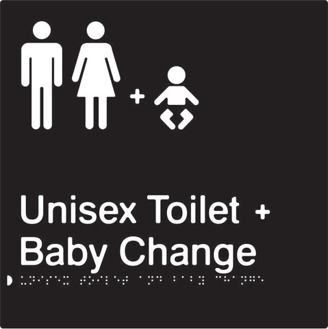 Unisex Toilet & Baby Change Braille & tactile sign (PBABk-UTABC)