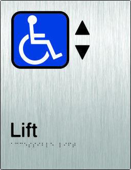 Accessible Lift Braille and tactile sign (PB-SSALift)