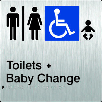 Airlock for Male, Female & Accessible Toilets & Baby Change Braille & tactile sign (PB-SSAUATABC