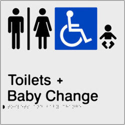 Airlock for Male, Female & Accessible Toilets & Baby Change Braille & tactile sign (PBS-AUATABC