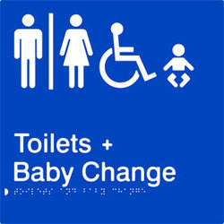 Airlock Braille and Tactile sign for male, female and accessible toilets and baby change (PB-AUATABC)