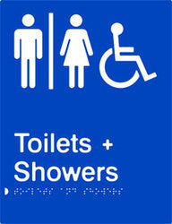 Airlock Braille and tactile sign for male, female and accessible toilets with shower facilities. (PB-AUATAS)