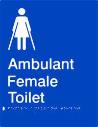 Female Ambulant Toilet Braille & tactile sign (PB-FAmbT)