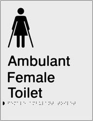 Female Ambulant Toilet Braille & tactile sign (PB-SNAFambT)