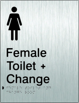 Female Toilet & Change Room Braille & tactile sign (PB-SSFTACR)