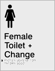 Female Toilet & Change Room Braille & tactile sign (PBS-FTACR)