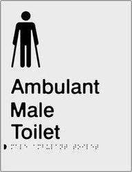 Male Ambulant Toilet Braille & tactile sign (PB-SNAMambT)