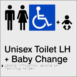 Unisex Accessible Toilet & Baby Change Left Hand Transfer Braille & tactile sign (PB-SNAUATABCLH)