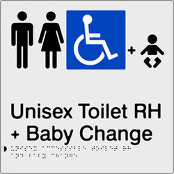 Unisex Accessible Toilet & Baby Change Right Hand transfer Braille & tactile sign (PBS-UATABCRH)