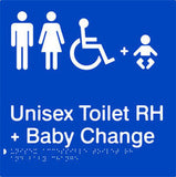 Unisex Accessible Toilet & Baby Change Right Hand transfer Braille & tactile sign (PB-UATABCRH)