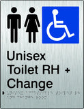 Unisex Accessible Toilet & Change Room Right Hand transfer Braille & tactile sign (PB-SSUATACRRH)