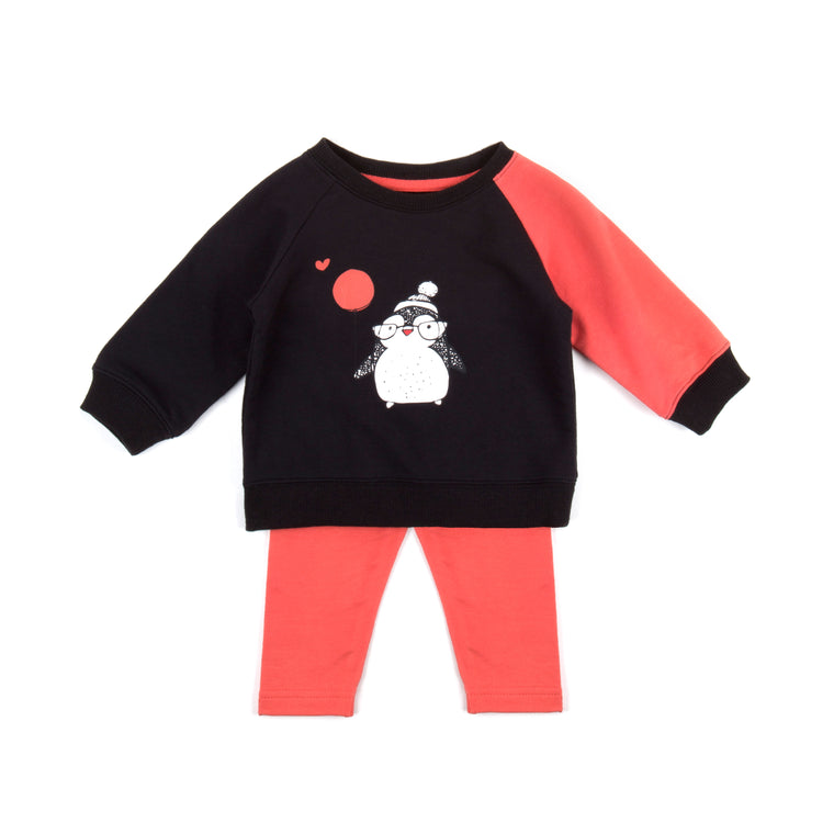 Penguin toddler girl set