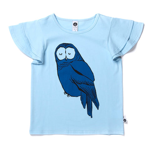 Sleepy Owl Tee - Powder Blue