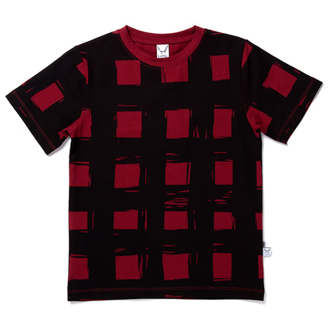 Gingham Tee - Dark Red