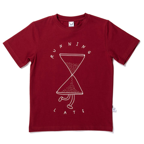 Running Late Tee - Dark Red