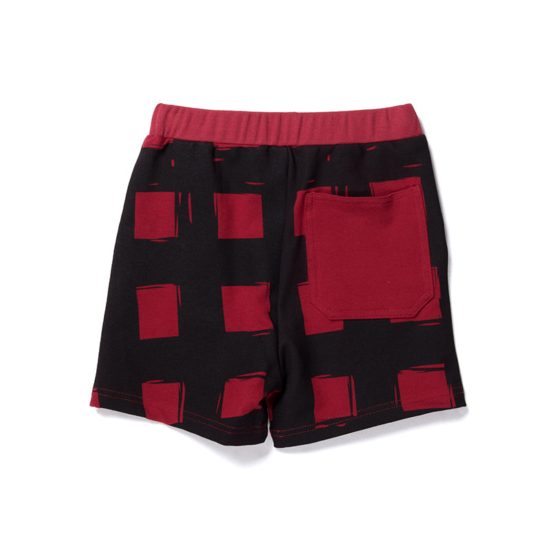 Gingham Sweat Short - Dark Red