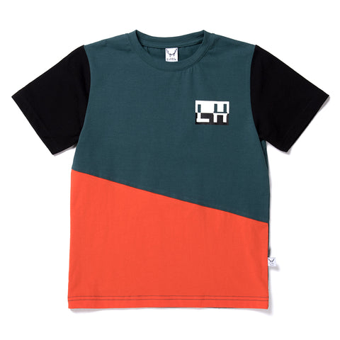 Jagged Tee - Dark Green/Orange/Black
