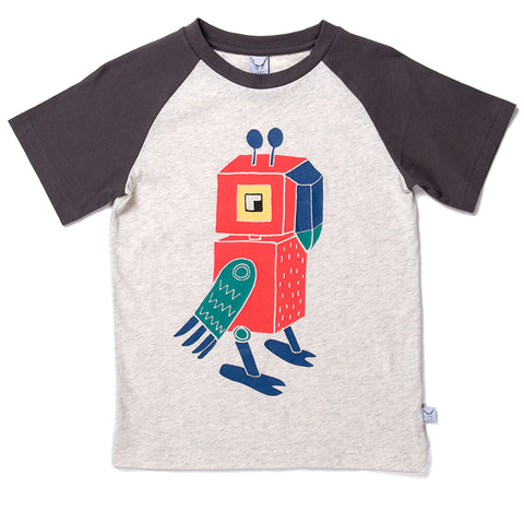 Robot Parrot Raglan Tee - Light Grey/Oil