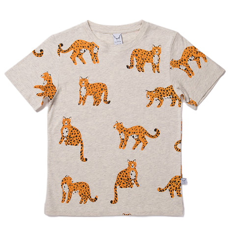 Cheetah Tee - Light Grey