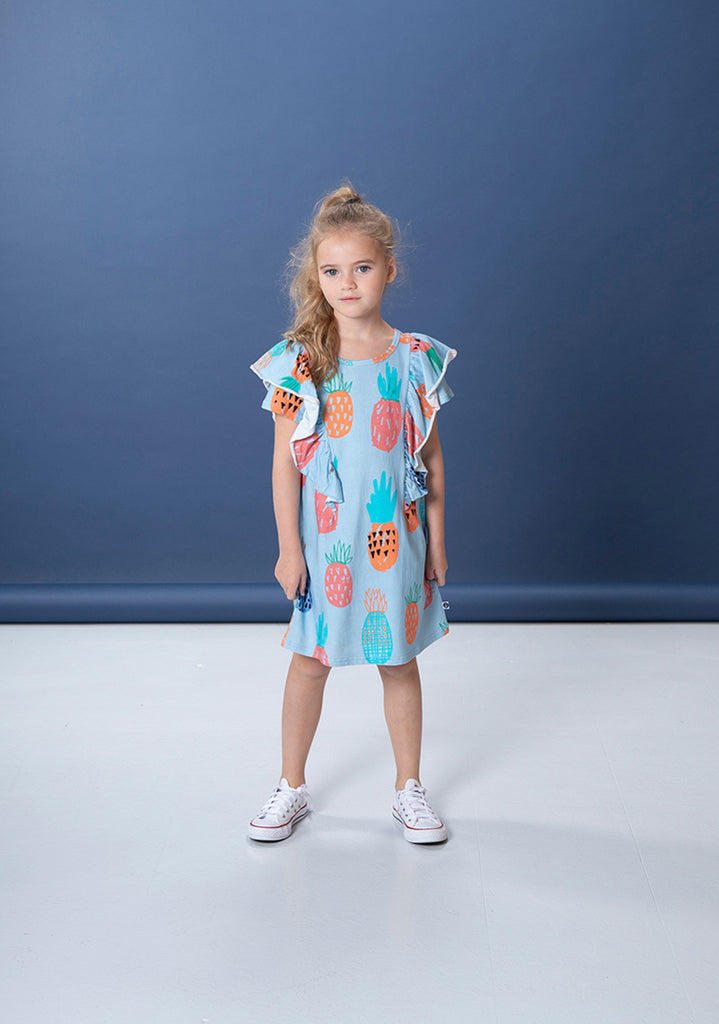 Colourful Pineapples Dress - Powder Blue