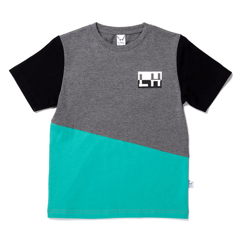 Jagged Tee - Charcoal/Black/Teal