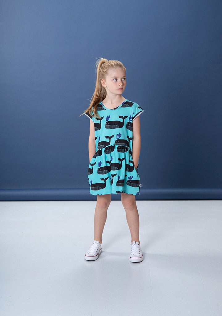 Whale Pod Dress - Turquoise