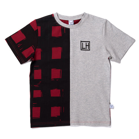 Gingham Cut Tee - Dark Red/Marle