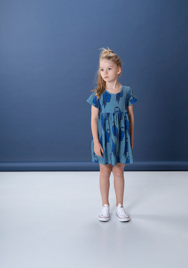 Hoot Hoot Dress - Mid Blue