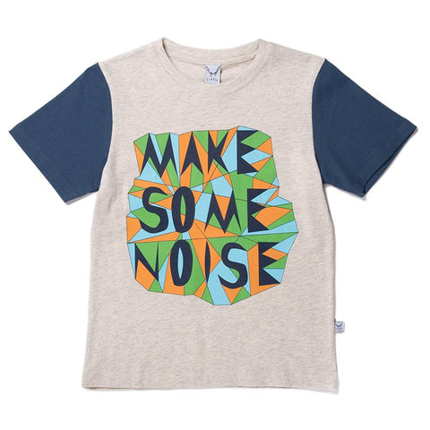 Littlehorn Make Some Noise Tee - Light Grey/Navy