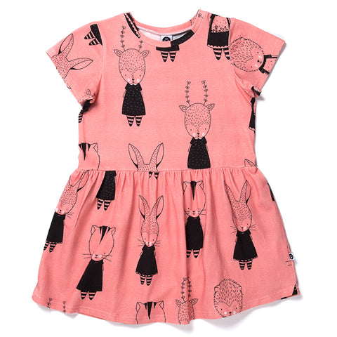 Forest Friends Dress - Sorbet