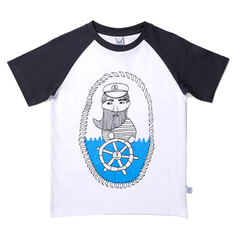 Captain Raglan Tee - White/Black
