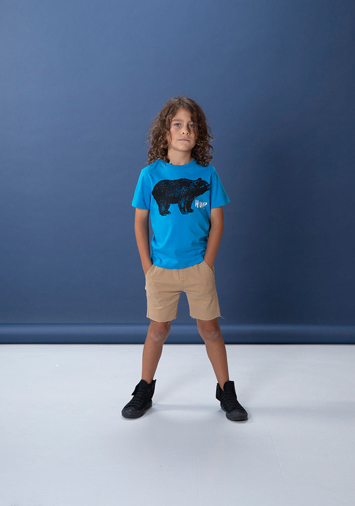 Bewildered Bear Tee - Electric Blue