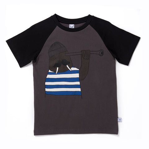 Lookout Walrus Raglan Tee - Oil/Black