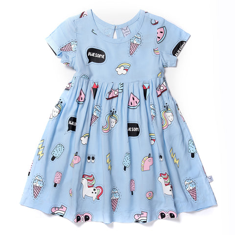 Badges Woven Dress - Powder Blue