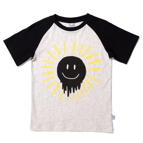 Dripping Sun Raglan Tee - Light Grey/Black